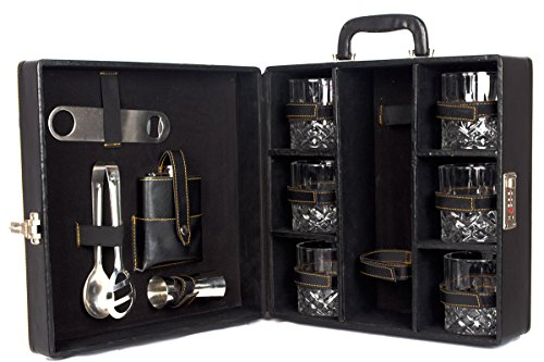 Black Butterfly Bar accessories | Mega Bar Set | Portable Leatherette Briefcase Bar Set | Bar Set | Bar Set For Picnic | bar Set for Travel | Bar Set for car | Whiskey Glasses
