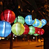 Bescita 5M 20LED Solar Energy Fabric Lantern Ball Light String Christmas Wedding,Light String (Multicolor)