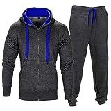 Star Trendz Kinder Unisex Essentials Kontrast Fußball Sportbekleidung Trainingsanzug Fitnessstudio Fleece Kapuzenpullis Jogginghose Jogginghose Gym Set (7-8, Holzkohle/Blau)