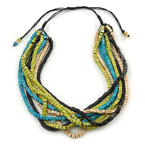Multi-fils Vert anis/noir/bleu sarcelle/Beige réglable Collier cordon perle bois - 46 cm à 58 L