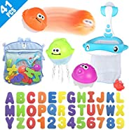 Bath Toy Sets, 36 Foam Bath Letters and Numbers, Floating Squirts Animal Toys Set with Fishing Net and Organiz