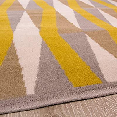 Milan Ochre Mustard Yellow Grey Beige Diamond Tile Geometric Traditional Living Room Rug produced by The Rug House - quick delivery from UK.