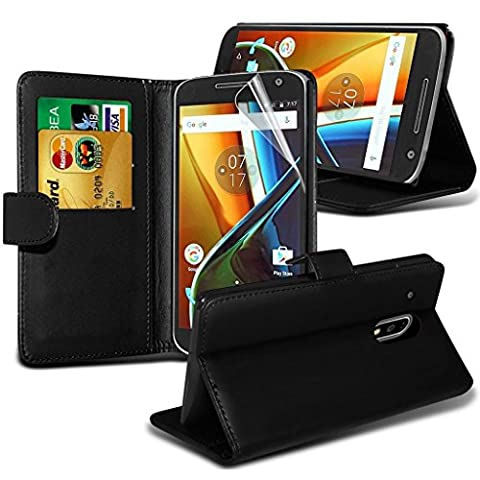 Motorola Moto E3 (3rd Gen 2016) Wallet Case Cover With Card Holder and LCD Screen Protector - Fonetic Solutions
