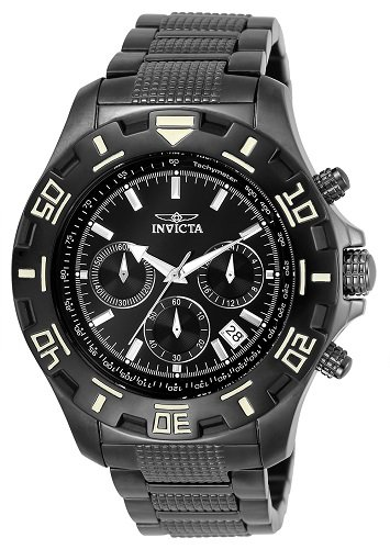 Invicta 6412 Specialty Men's Wrist Watch Stainless Steel Quartz Black Dial