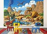 great-art Fototapete Kinderzimmer Dino Abenteuer Dinosaurier - Wandbild Dekoration Dinowelt Comic Style Jungle Dinosaurus Wasserfall I Foto-Tapete Wandtapete Fotoposter Wanddeko by (336 x 238 cm) Test