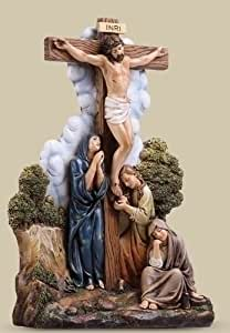 The Crucifixion de Jésus Statue Sculpture chagrin de Mary en résine et pierre Mix