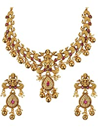 Much More Gold Plated Laxmi MATA Temple Jewellery Necklace Set With Pearl Stone