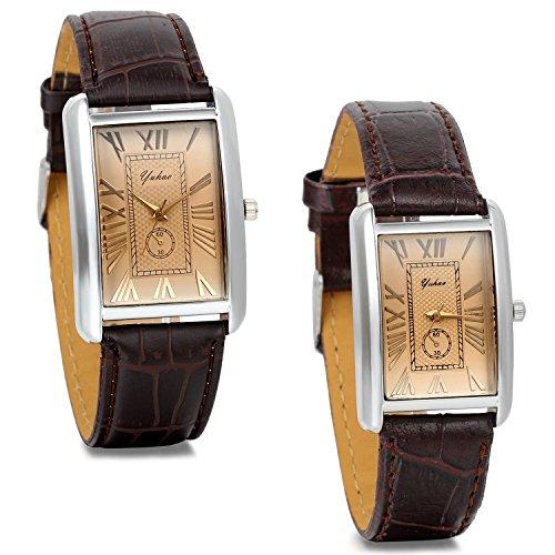 JewelryWe Damen Armbanduhr,Retro Leder Analog Quarz Uhr mit römischen ziffern Zifferblatt, Lieben partneruhren, Braun