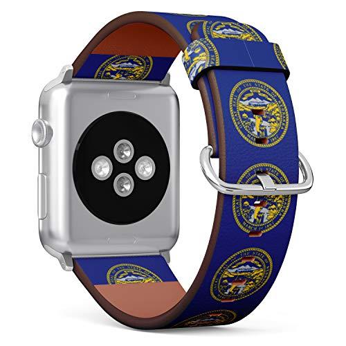 tch Armband, Echtes Leder Uhrenarmband f¨¹r Apple Watch Series 4/3/2/1 Sport Edition 42/44mm - State Flag of Nebraska ()