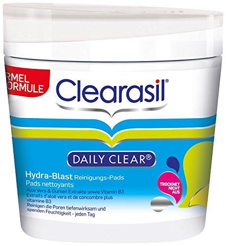 Clearasil Daily Clear Hydra-Blast Reinigungs-Pads mit Aloe Vera und Gurken extrakte sowie Vitamin B3, 3er Pack (3 x 65 Stück)