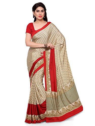 Pisara Women'S Crepe Silk Printed Saree,Beige & Red