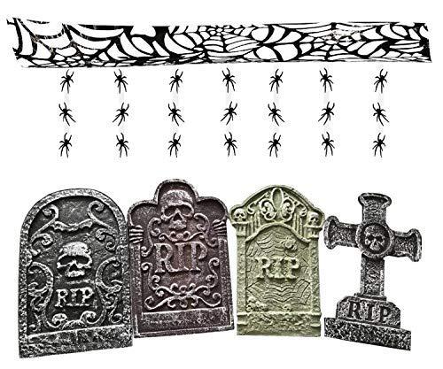Quickdraw Halloween-Dekoration Set 4 X Fake Grabsteine Sicke Friedhof Grabsteine & Wandbehang Spinnen mit Spinnennetz Decke Dekoration