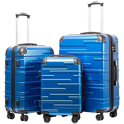 COOLIFE Hartschalen-Koffer Rollkoffer Reisekoffer Vergrößerbares Gepäck (Nur Großer Koffer Erweiterbar) ABS Material mit TSA-Schloss und 4 Rollen (Blau, Koffer-Set)