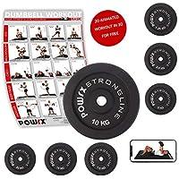POWRX – Set de 2 discos de pesas de hierro fundido de 2.5, 5, 7.5, 10, 15 y 29 kg – 30 mm de diámetro – Color Negro