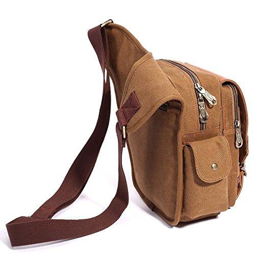 S-ZONE Herren Utility Leinwand Leder Schulter Militär Patchwork Tasche Versipack Umhängetasche Handtasche Brusttasche A-Khaki-1