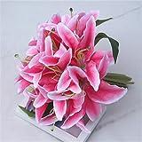 zhENfu 1pc Unión Perfume Lily novia sosteniendo flores artificiales Flores Bouquet Boda Bouquet Home Furnishing Salón decoración
