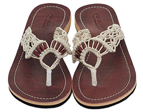 Amboss Damen Sandalen mit Echt-Leder Obersohle Gr.36-43 Farbe:braun, cream, schwarz Cream