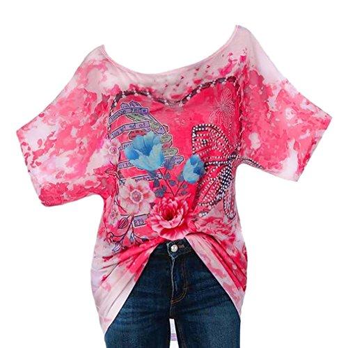 TEBAISE Mittlere Jahreszeit-Art- und Weisefrauen-Täglicher im Freiensport-reisender Bunter Kühler Anzug Rhinestone-Liebes-Schmetterlings-Druck Oansatz Kurzarm-Oberseiten-T-Shirt(Rosa,EU-44/CN-L) (Anzug Bestickt Fussball)