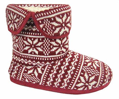 Coolers Uomo Fairisle Stivali Pantofola a Maglia Rosso