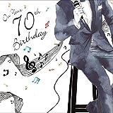 twizler Happy 70. Geburtstag Karte für Ihn mit Silber folieren und einzigartige Wasserfarben Effekt–Musik und Sängerin–70Year Old–Alter 70Geburtstag–Stecker Geburtstag Karte