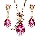 CDE Rose Gold überzogene Halskette und Ohrringe für Frauen mit Teardrop Pink Swarovski Kristallstein, Schmuckset für Mädchen mit Geschenkbox