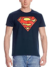 Superman Logo T-Shirt, Official DC Comics Dark Blue Rings Elves Woods