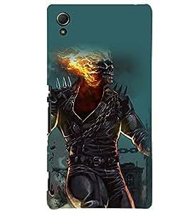 Printvisa Premium Back Cover Burning Skeleton Haunted Pic Design For Sony Xperia Z4::Sony Xperia Z4 E6553