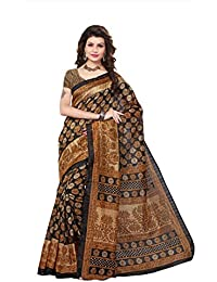 Fabwomen Sarees Floral Print Black And Beige Coloured Bhagalpuri Art Silk Traditional Casualwear Women's Saree...