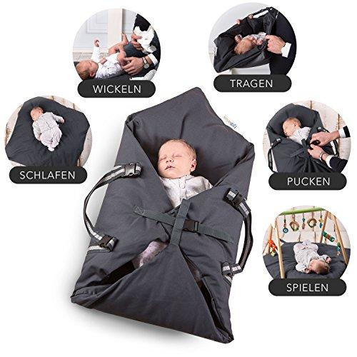 Schubidoo baby\'s bag in grau | Baby Multifunktions Tasche 5 in 1 | geeignet zum Spielen, Wickeln, Pucken, Schlafen und als Baby Tragetasche oder Einschlafhilfe