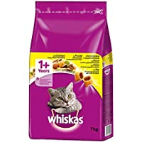 Whiskas Katzen-/Trockenfutter Adult 1+ für Erwachsene Katzen mit Huhn, 1 Beutel (7 kg)