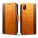 Rssviss Coque iPhone XS/X Housse Etui en Cuir Flip Case pour iPhone XS/X [4...