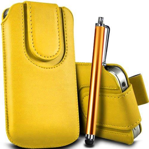 Brun/Brown - Xiaomi Mi 2 Housse et étui de protection en cuir PU de qualité supérieure à cordon avec fermeture par bouton magnétique et stylet tactile pour par Gadget Giant® Yellow & Stylus Pen