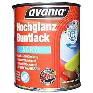 Avania Hochglanz Buntlack / Acryllack / weiß / 750 ml / 2 in 1 Lack u. Grundierung / Malerqualität für Holz, Putz,Beton, Mauerwerk, Kunststoff,Eisen, Stahl, Metall,Zink, Aluminium, Kupfer