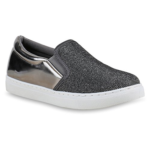 Damen Sneakers Slip-ons Lack Glitzer Metallic Slipper Schuhe Grau