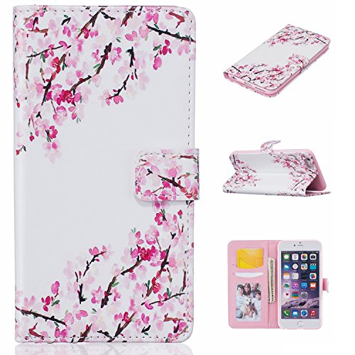 iPhone 6S Plus Hülle,iPhone 6 Plus Case,iPhone 6S Plus Tasche - Felfy Leder Flip Bookstyle Wallet Luxe Handyhülle Niedlich Farbe Muster Premium Slim PU Leather Stand Wallet Flip Lederhülle Case Cover  Pflaume Rose