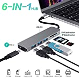 USB C Hub zu USB 3.0,WU-MINGLU 6 in 1 Typ C Adapter mit 3 USB Port,Power Delivery,SD/Micro SD(TF) Kartenleser USB-C Dock Thunderbolt 3 Kabel Konverter für Macbook/Macbook pro,DELL XPS13,Samsung S8/S8+/S9,HUAWEI Mate10
