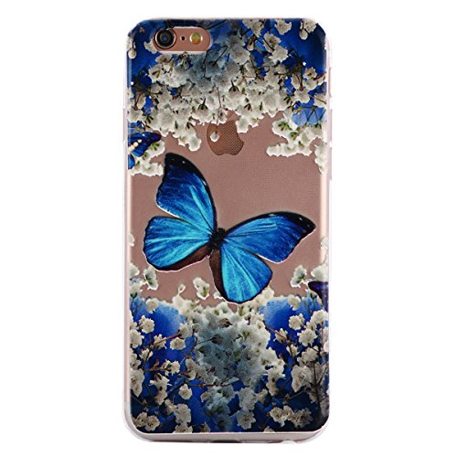 iPhone 6S Hülle,Transparent Crystal Klar Case für iPhone 6,Ekakashop Ultra dünn Slim Bunt Biene Muster Modisch Durchsichtig Weiche Silikon TPU Flexible Gel Case Defender Protective Schutzhülle Handyta Blauer Schmetterling