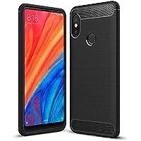 Xiaomi Mi Mix 2s Hülle, TopACE Flexiblem TPU Silikon Hybrid Schutzhülle Kohlenstoff-fasern Tasche Slim-Fit Case für Xiaomi Mi Mix 2s (Schwarz)
