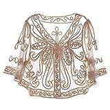 Freebily Damen Spitze Gardigen in Schwarz - Stickerei Jacke Blumen Elegant Bluse aus Spitze - Scheer Dünne Jäckchen zum Kleid mit Langarm Beige One Size