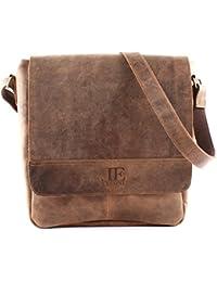 bb262d97f49d1 LECONI große Umhängetasche DIN A4 Schultertasche Messenger Bag Kuriertasche  Businesstasche Klettverschluss Leder vintage 31x34x10cm…