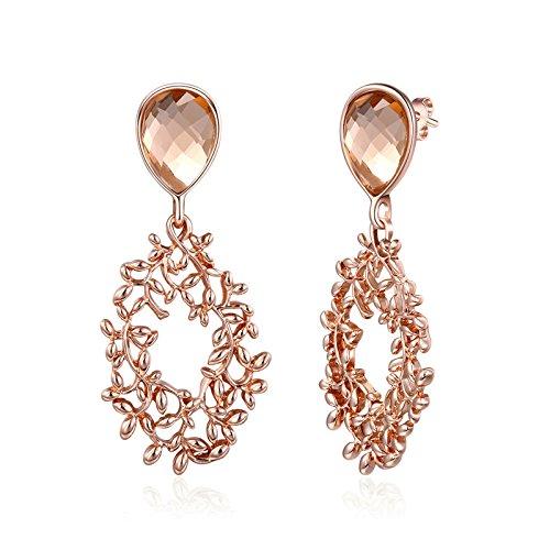 AieniD Schmuck Vergoldet Ohrringe Mädchen Silber Ohrringe Damen Indian Rebe Roségold Größe:2.2X5.3CM