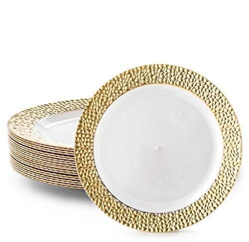 Dazzle Plate Gold Rim White 10.5