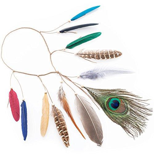 LONGBLE Indianer kopfschmuck Feder Stirnband + 2 Ohrringe Damen Boho Haarschmuck mit Handgewebte Quasten Pfauenfeder Holzperle Einstellbar Haarband Kopfschmuck ()