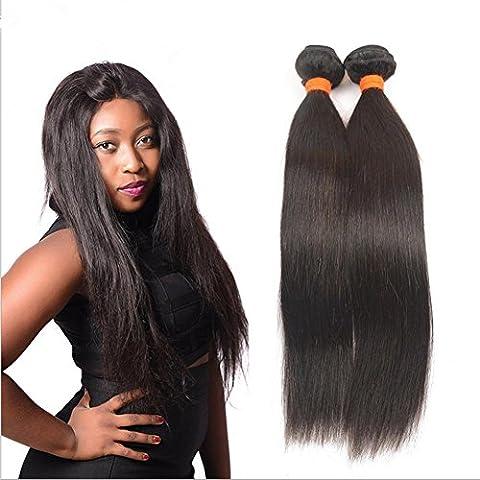M@YZ 100% parrucche dei capelli umani prime signore possono essere utilizzate per la tintura parrucca di modo colore solido lungo rettilineo (3pcs) , 36cm
