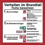 Verhalten im Brandfall ISO Schild Brandschutzordnung Kunststoffplatte 200x200mm orig. Andris®-Piktogramm