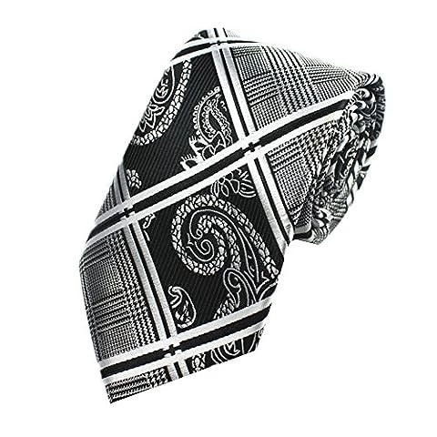 Z-P Mens Retro Black Floral Luxury Elegant Necktie Knit Woven Jacquard Skinny Tie