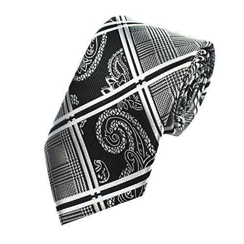 Z-P Mens Retro Black Floral Luxury Elegant Necktie Knit Woven Jacquard Skinny Tie (Shirt Plaid Woven Schwarz)