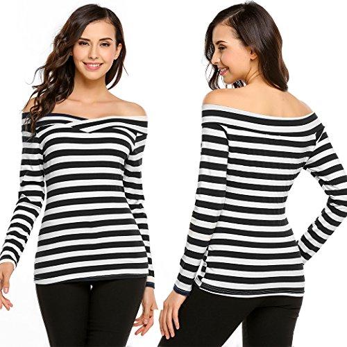 Zeagoo Damen Schulterfrei Langarmshirt Gestreiftes Shirt Off Schulter Obertail T-Shirt Tops Schwarz