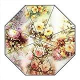 Kundenspezifischer faltbarer Umbrella Diy personifizierter Klassische Blumen Entwurfs-beweglicher Reise-Regenschirm f¨¹r Sonne und Regen