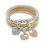 Rokoy 3pcs Braccialetto Diamante Amore Cuore Forma di Blocco Lega Tri-Colore Braccialetto Elastico Braccialetto di Strass Gioielli Signora Glamour